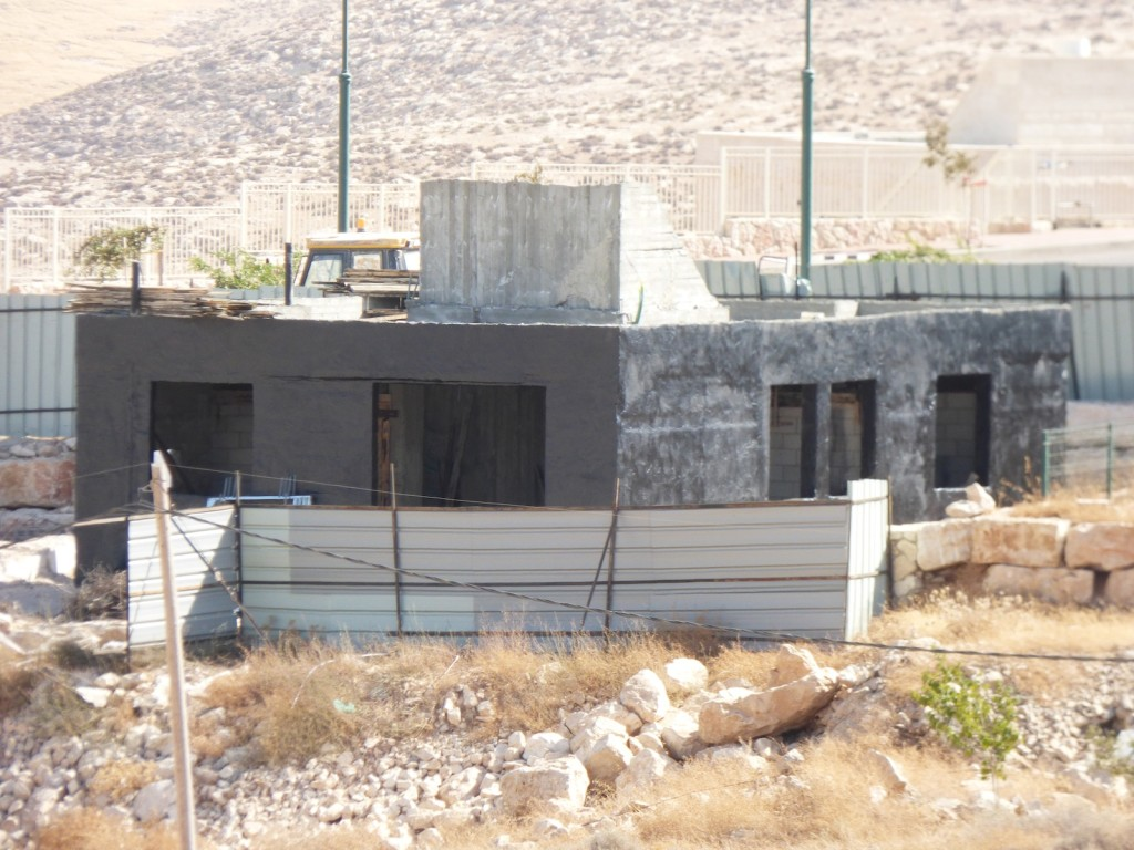 One of the new houses under construction in Karmel Israeli settlement.