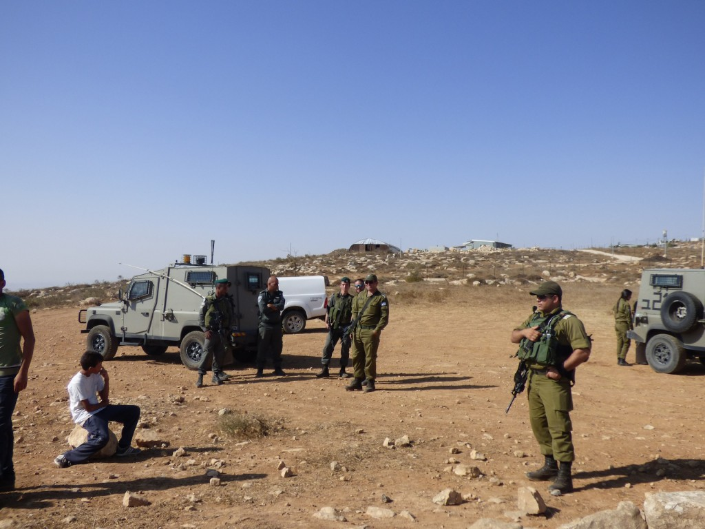 Israeli army, Border Police and DCO prevent Palestinian owners of the land in Umm Al Arayes from entering it.