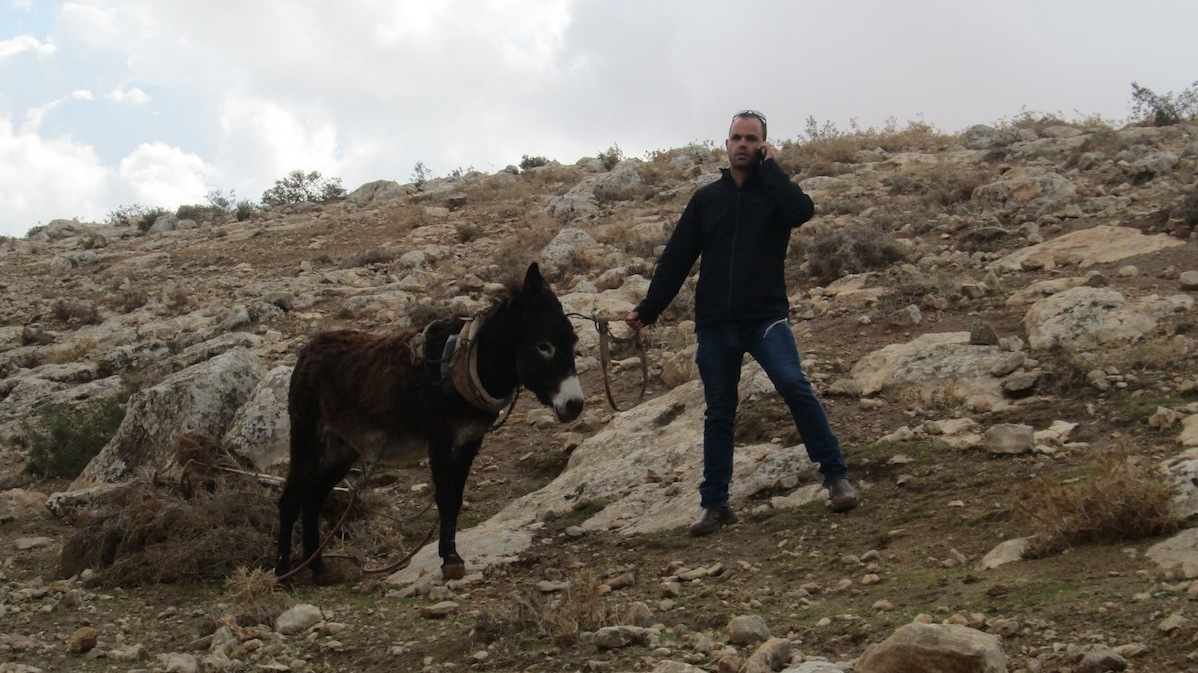 Israeli settler with the donkey
